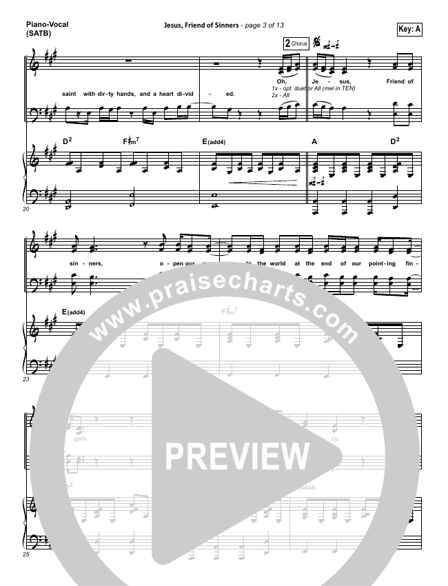 Jesus Friend Of Sinners Piano/Vocal (SATB) (Casting Crowns)