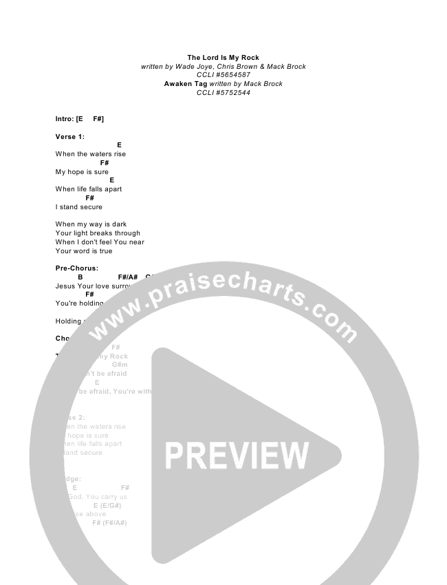 The Lord Is My Rock/You Lift Me Out Chord Chart (Elevation Worship)