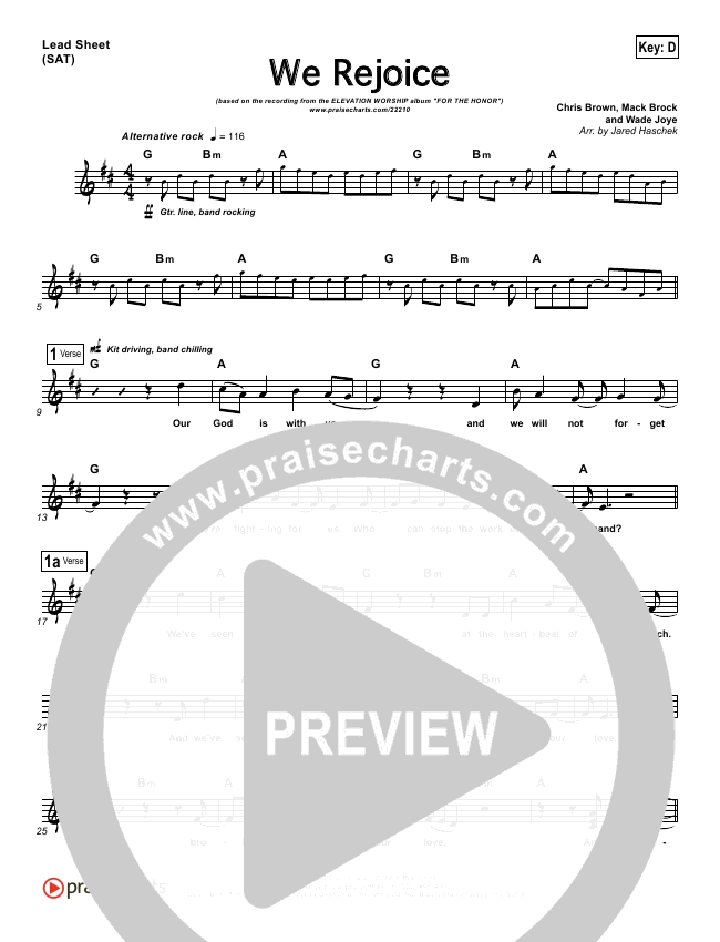 We Rejoice Lead Sheet (Elevation Worship)