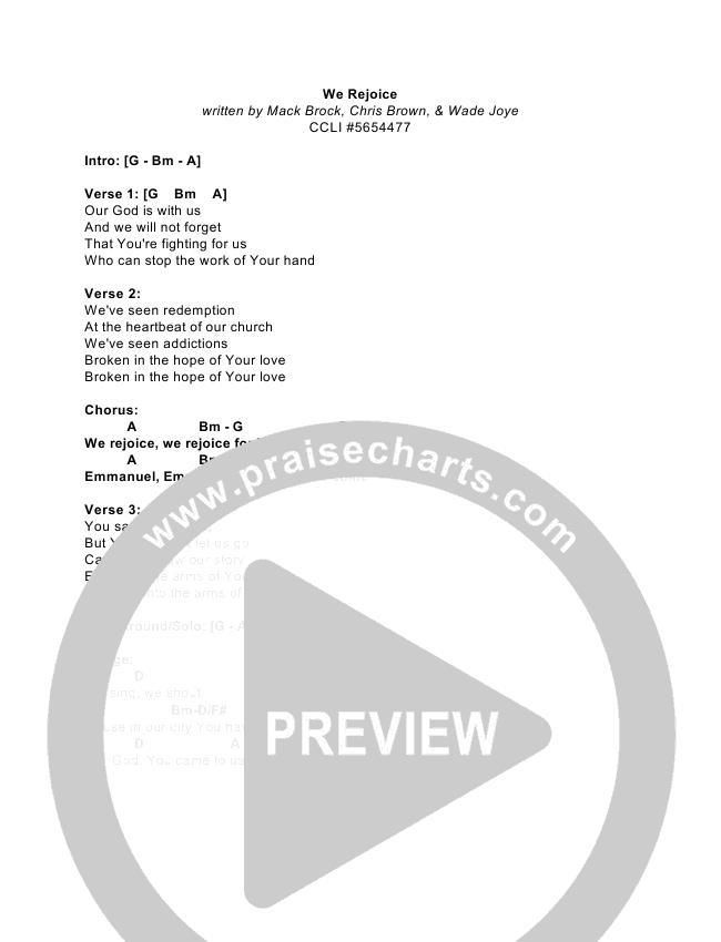 We Rejoice Chord Chart (Elevation Worship)