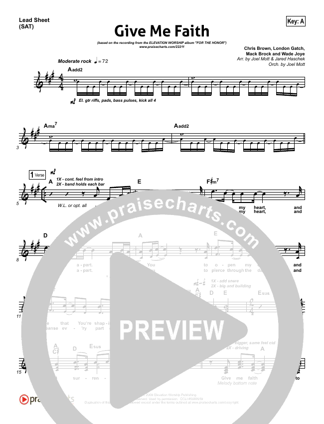 Give Me Faith Lead Sheet (SAT) (Elevation Worship)