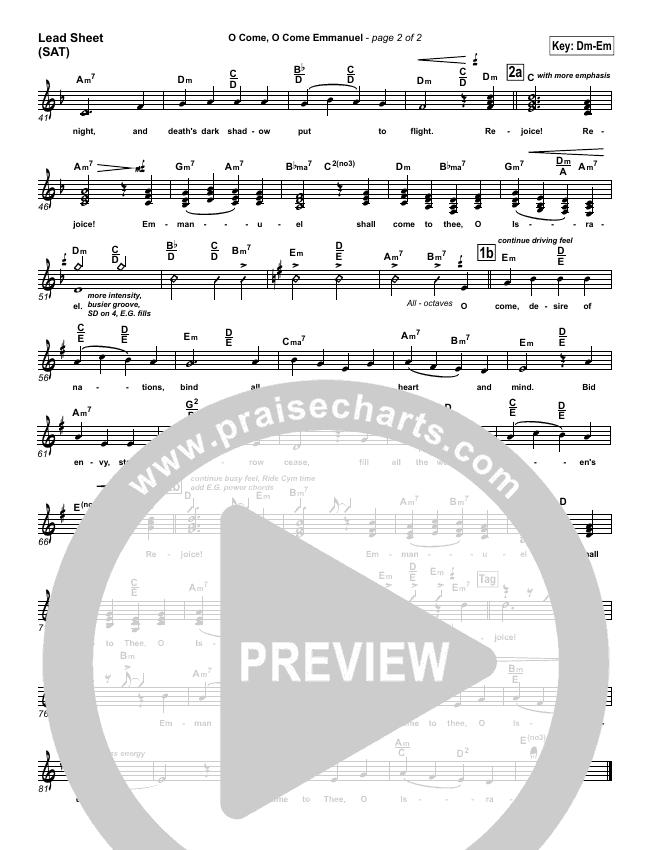 O Come O Come Emmanuel Lead Sheet (SAT) (PraiseCharts Band)
