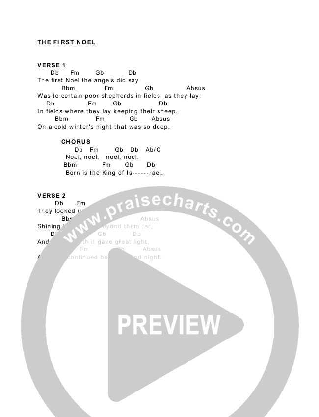 The First Noel Chord Chart (Paul Baloche / Sean Dayton / Aimee Dayton)