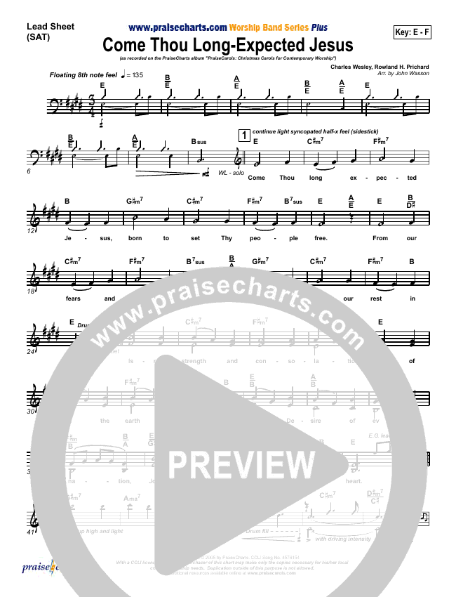 Come Thou Long Expected Jesus Lead Sheet (SAT) (PraiseCharts Band)