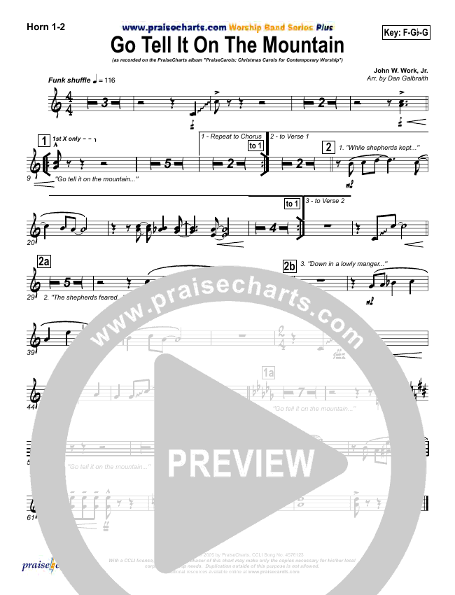 Go Tell It On The Mountain Brass Pack (PraiseCharts Band)