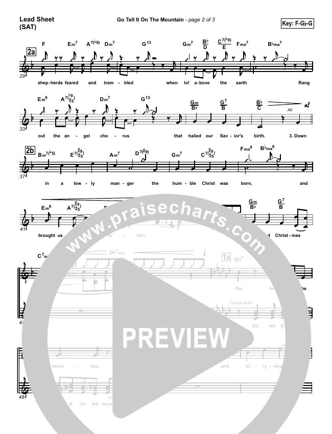 Go Tell It On The Mountain Lead Sheet (SAT) (PraiseCharts Band)