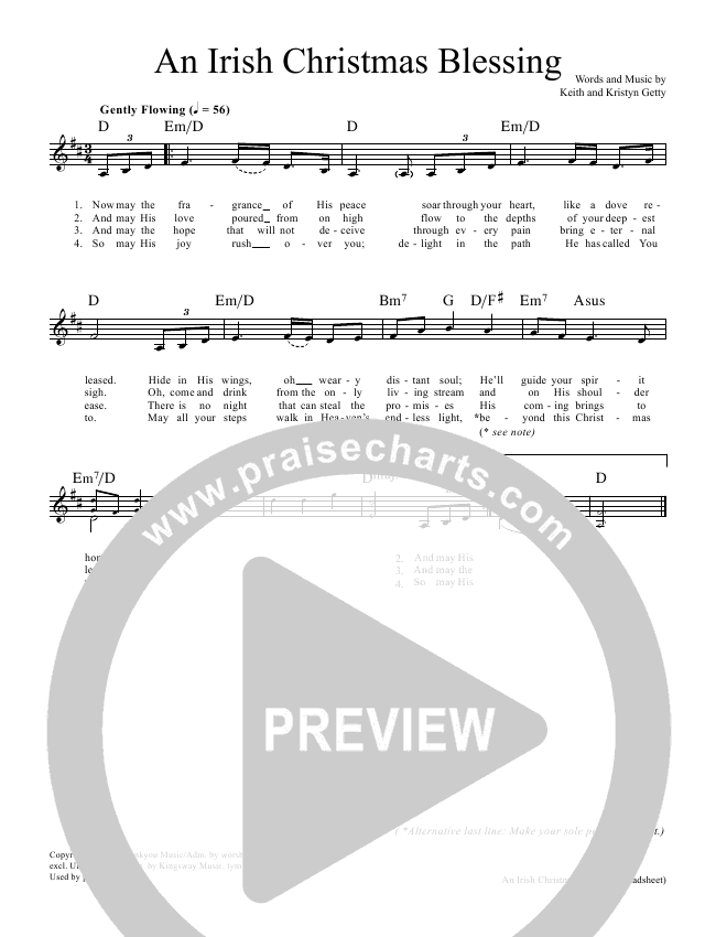 An Irish Christmas Blessing Lead Sheet & Piano/Vocal - Keith