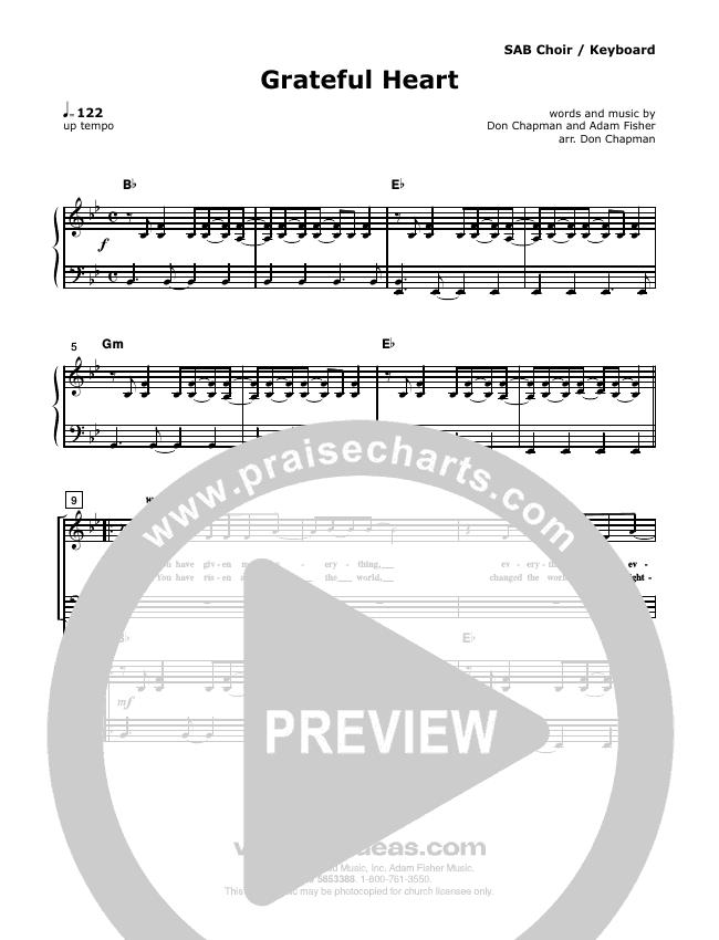 Grateful Heart Piano/Vocal (SATB) (Don Chapman)
