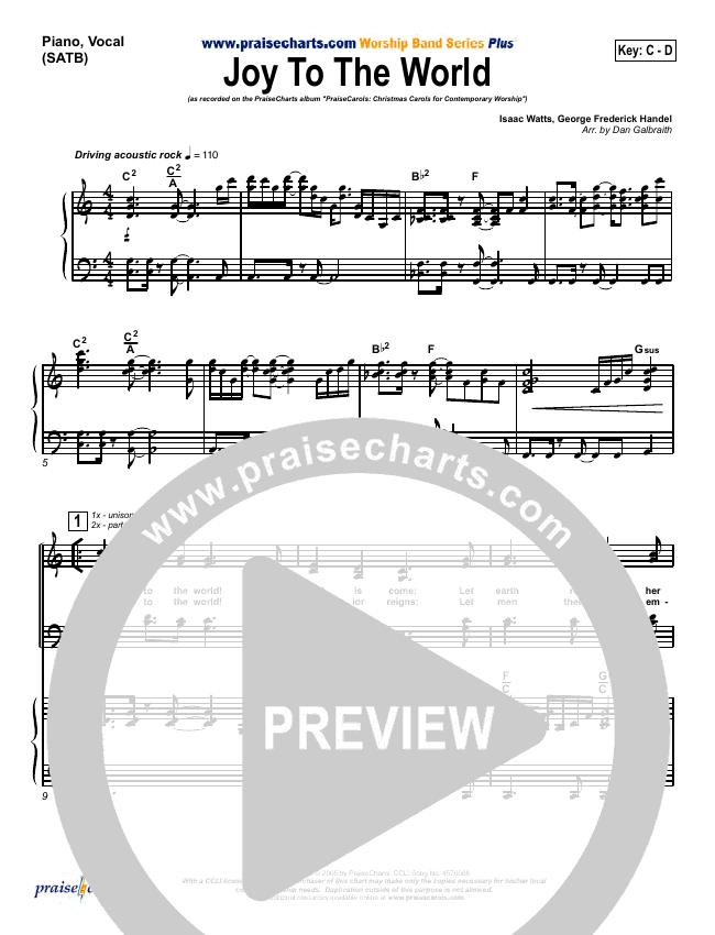 Joy To The World Piano/Vocal (SATB) (PraiseCharts Band)