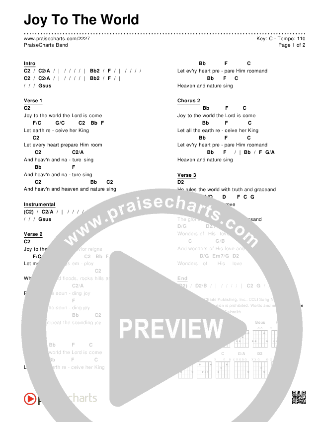 Joy To The World Chords & Lyrics (PraiseCharts Band / Arr. Dan Galbraith)