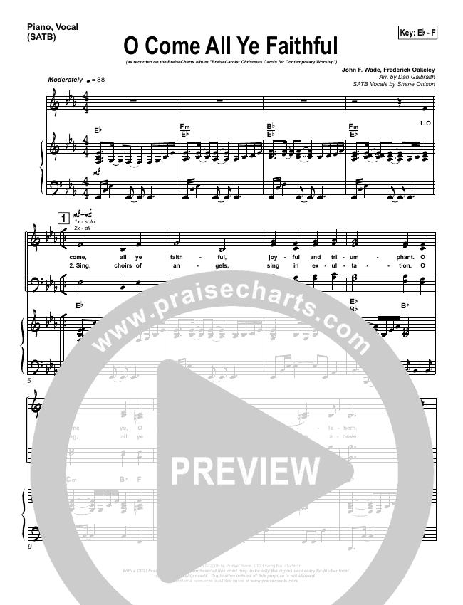 O Come All Ye Faithful Piano/Vocal (SATB) (PraiseCharts Band)