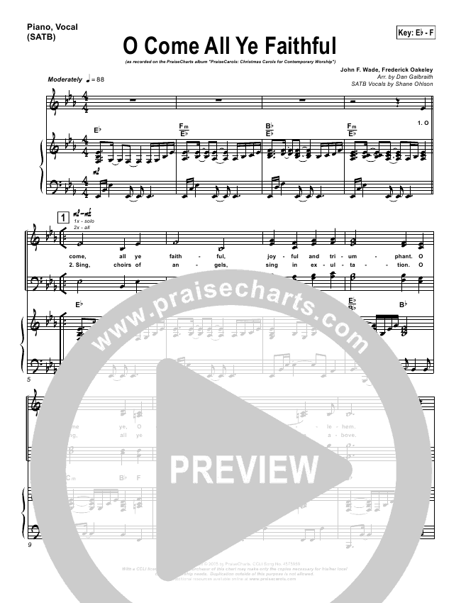 O Come All Ye Faithful Lead & Piano/Vocal (PraiseCharts Band / Arr. Dan Galbraith)