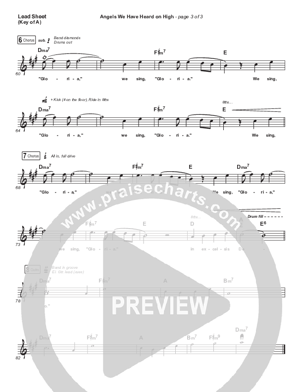 Angels We Have Heard On High Lead Sheet (Melody) (Elevation Worship)