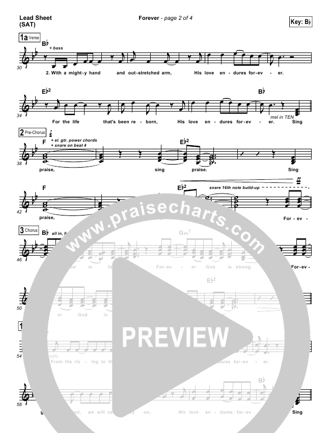 Forever Lead Sheet Chris Tomlin Praisecharts