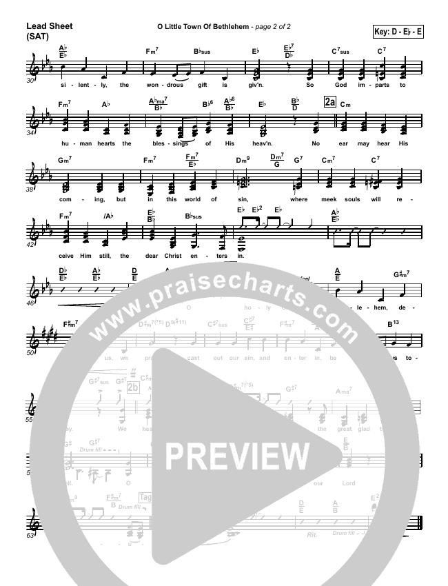 O Little Town Of Bethlehem Lead Sheet (SAT) (PraiseCharts Band)