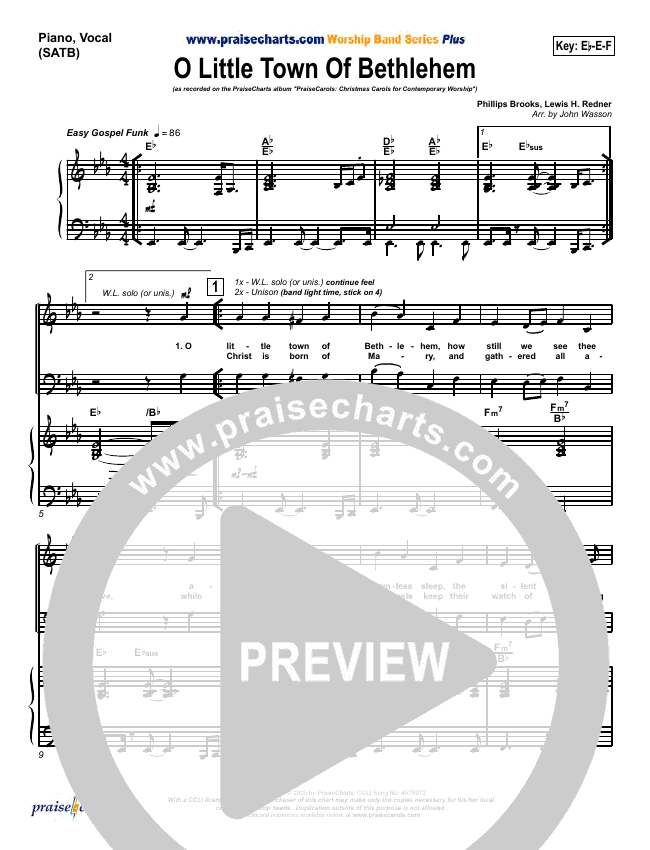 O Little Town Of Bethlehem Orchestration & Finale (PraiseCharts Band)