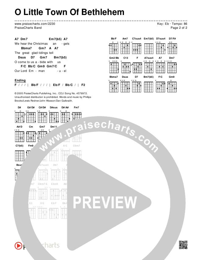 O Little Town Of Bethlehem Chords & Lyrics (PraiseCharts Band)