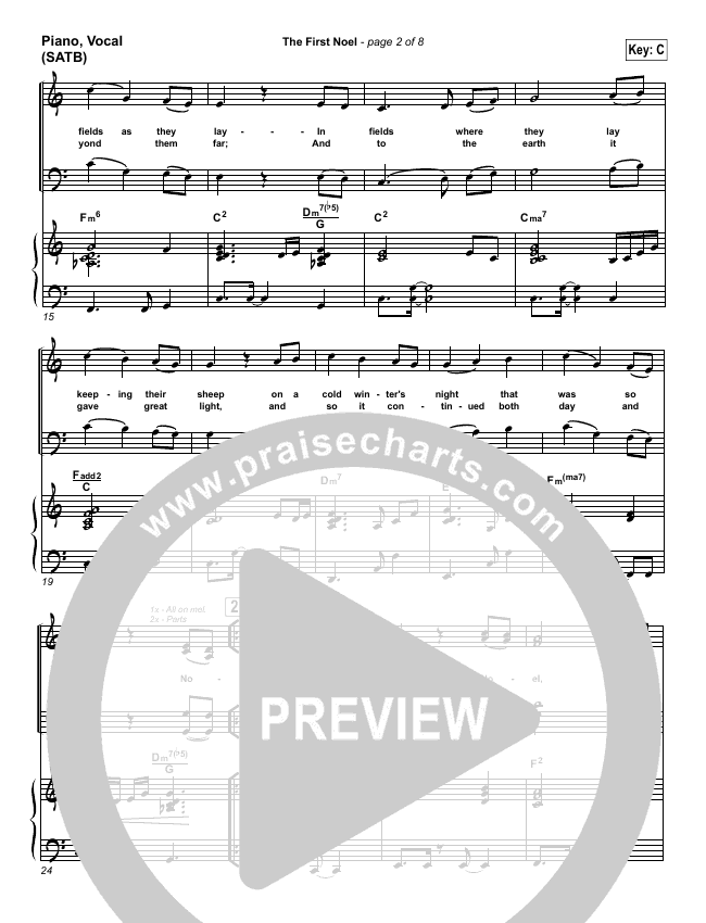 The First Noel Piano/Vocal (SATB) (PraiseCharts Band)