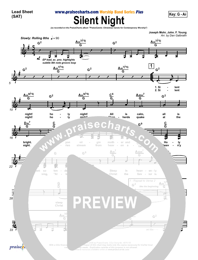 Silent Night Lead Sheet (SAT) (PraiseCharts Band)
