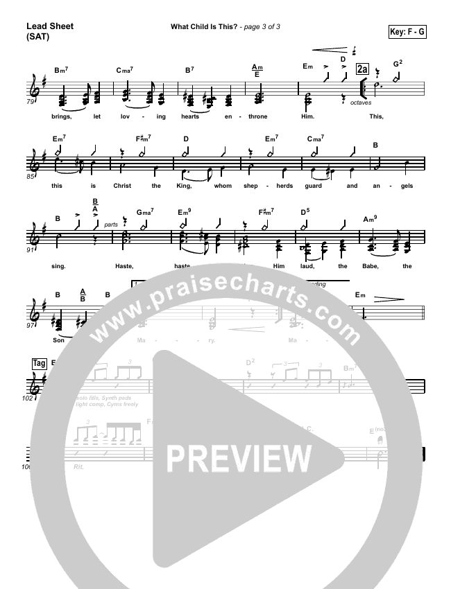 What Child Is This Lead Sheet (SAT) (PraiseCharts Band)