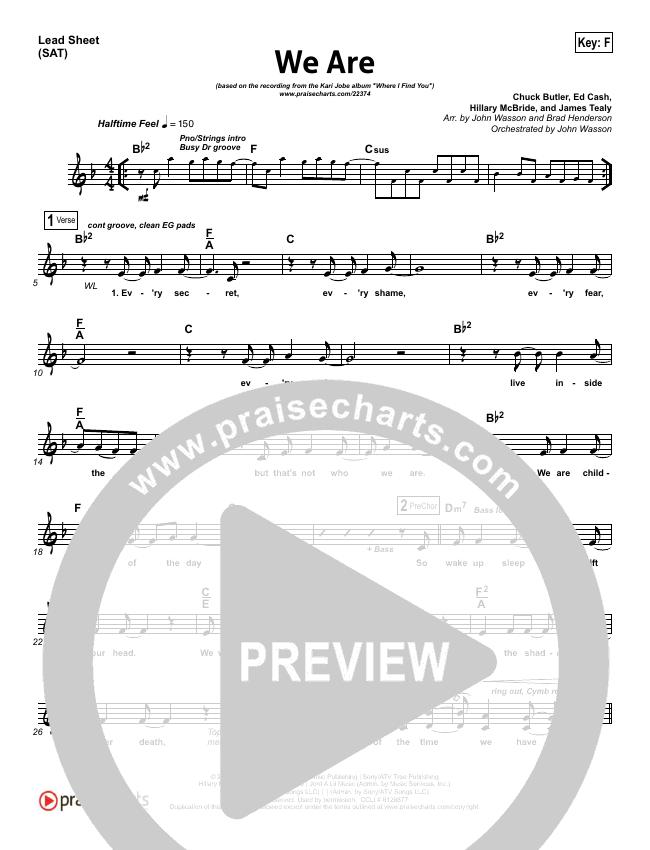 We Are Lead Sheet Pianovocal Kari Jobe Praisecharts