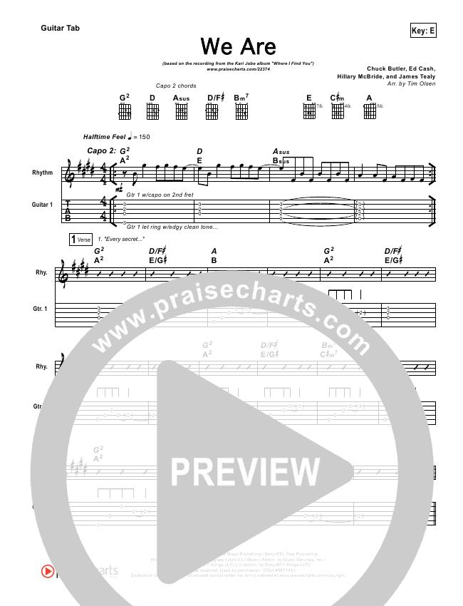 We Are Guitar Tab - Kari Jobe   PraiseCharts