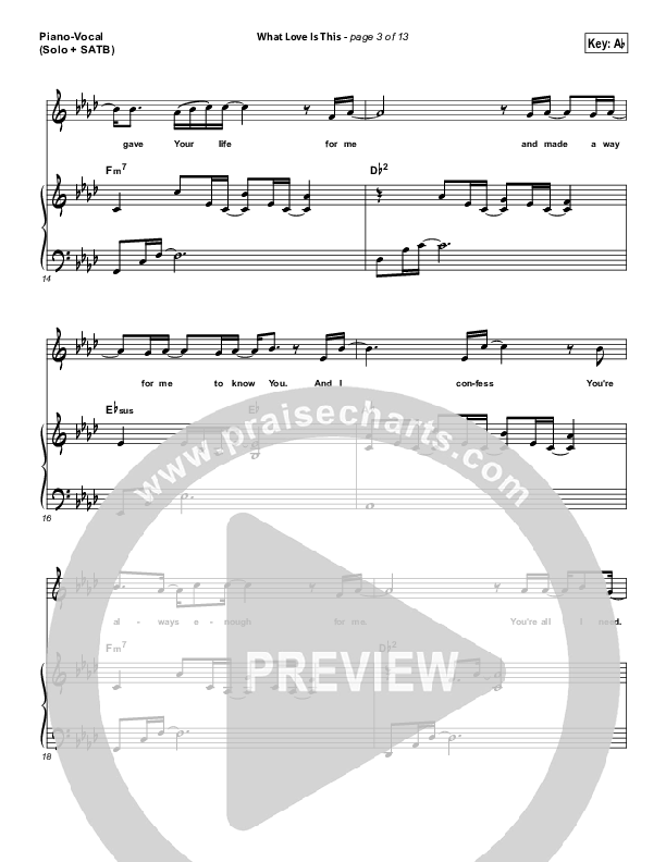 What Love Is This Piano/Vocal (SATB) (Kari Jobe)