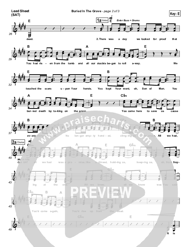 Buried In The Grave Lead Sheet (SAT) (All Sons & Daughters)