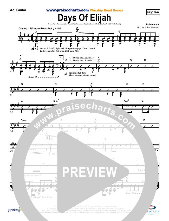 Days Of Elijah Orchestration Twila Paris Praisecharts
