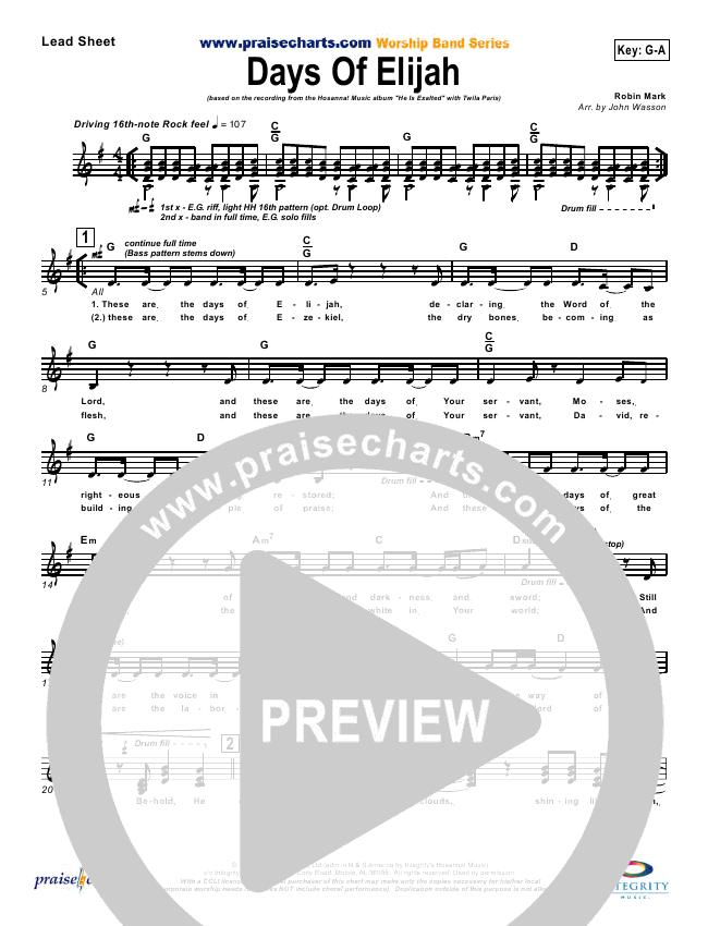 Days of Elijah Lead Sheet & Piano/Vocal - Twila Paris | PraiseCharts