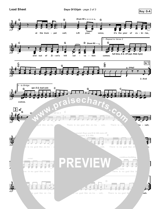 Days of Elijah Lead & Piano/Vocal (Twila Paris)