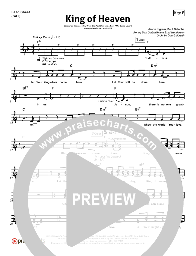 King Of Heaven Orchestration & Finale (Paul Baloche)