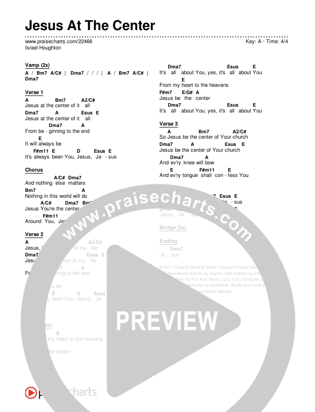 Jesus At The Center Chords & Lyrics (Israel Houghton)