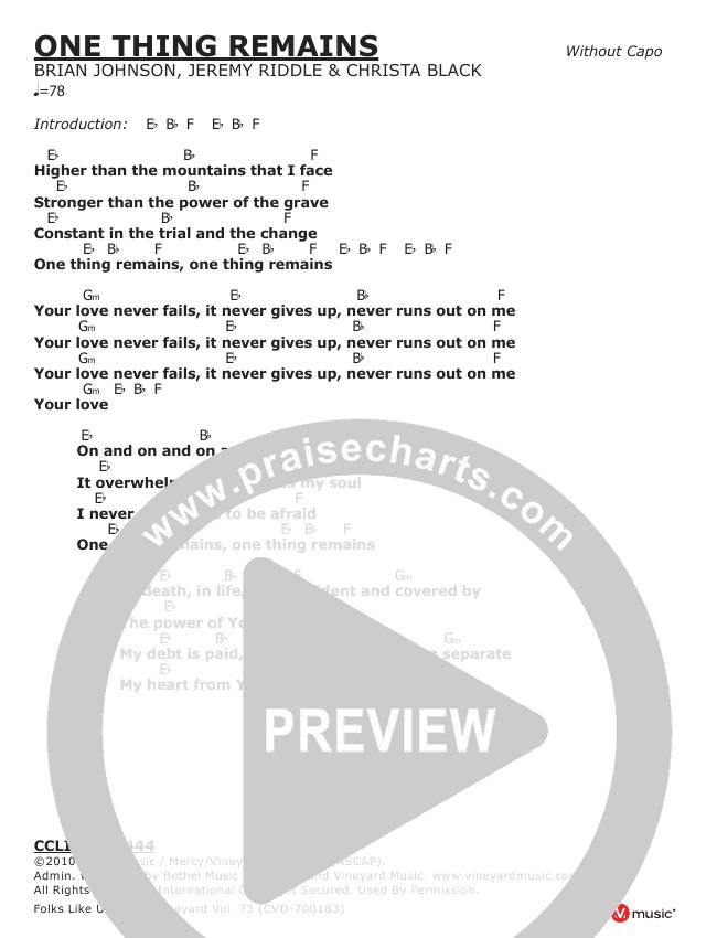 One Thing Remains Chord Chart (Vineyard Worship)