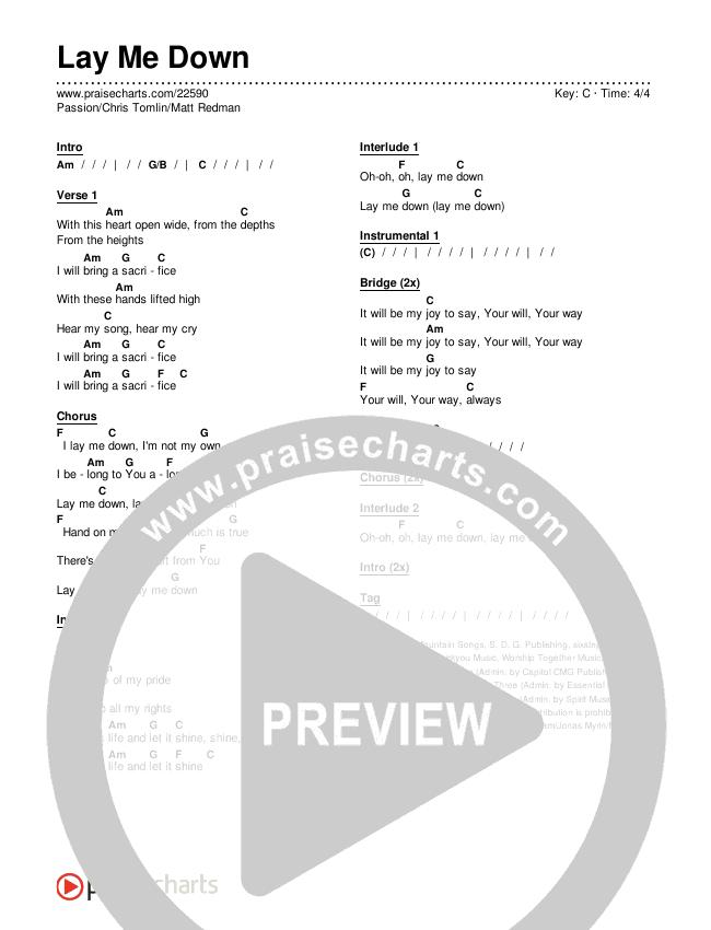 Lay Me Down Chords & Lyrics (Passion / Chris Tomlin / Matt Redman)