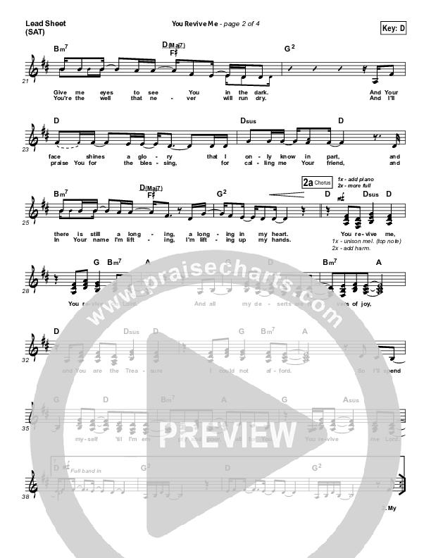 You Revive Me Lead Sheet (SAT) (Passion / Christy Nockels)