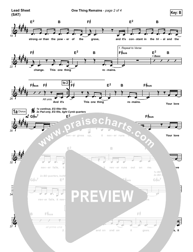 One Thing Remains Lead Sheet (SAT) (Kristian Stanfill / Passion)