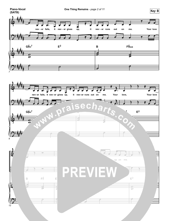 One Thing Remains Piano/Vocal (SATB) (Kristian Stanfill / Passion)