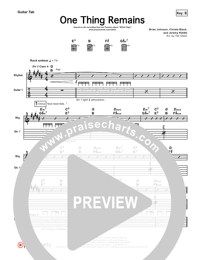 One Thing Remains Guitar Tab Kristian Stanfill Passion Praisecharts