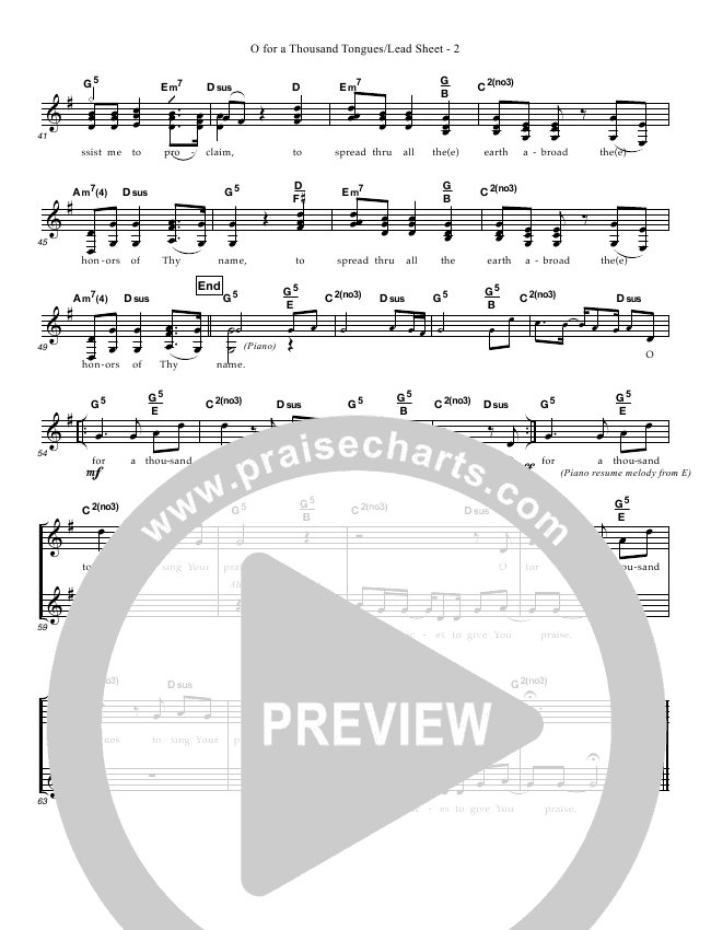 O For A Thousand Tongues Lead Sheet (Great Name Worship Project)