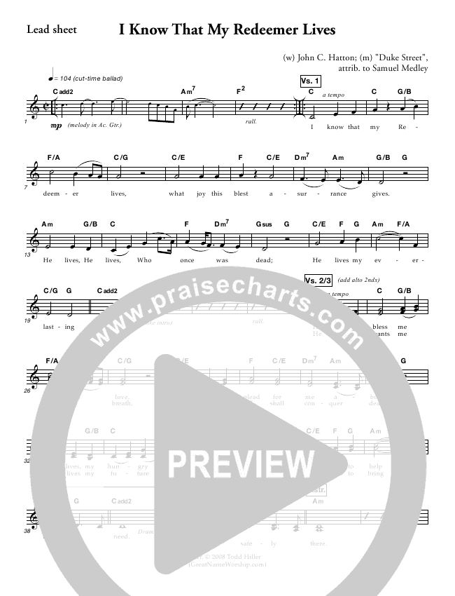 I Know That My Redeemer Lives Lead Sheet (Great Name Worship Project)