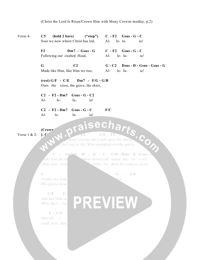 Christ The Lord And Crown Him Medley Chord Chart (Great Name Worship Project)