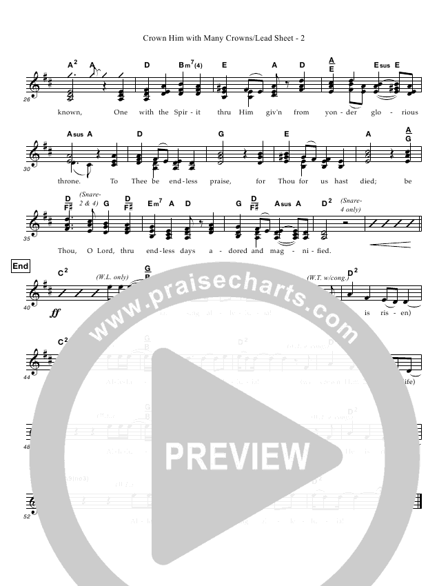 Crown Him With Many Crowns Lead Sheet (Great Name Worship Project)
