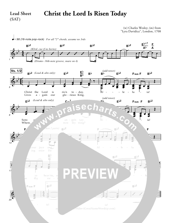 Christ The Lord Is Risen Today Lead Sheet (Great Name Worship Project)