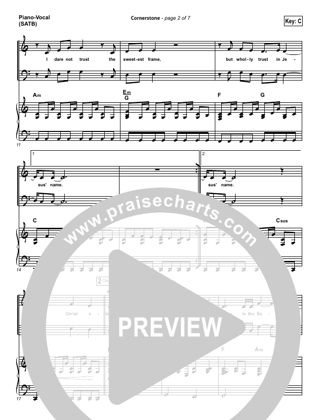 Cornerstone Piano/Vocal (SATB) (Hillsong Worship)