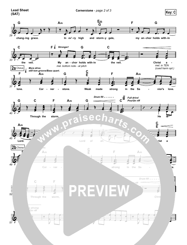 Cornerstone Piano/Vocal Pack (Hillsong Worship)