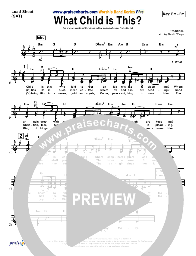 What Child Is This Orchestration (PraiseCharts / Traditional Carol)