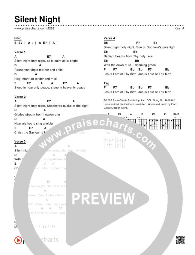 Silent Night Chords & Lyrics (Traditional Carol / PraiseCharts)