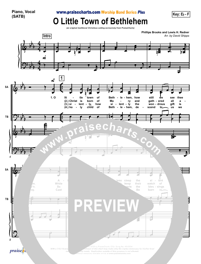 O Little Town Of Bethlehem Orchestration (Traditional Carol / PraiseCharts)