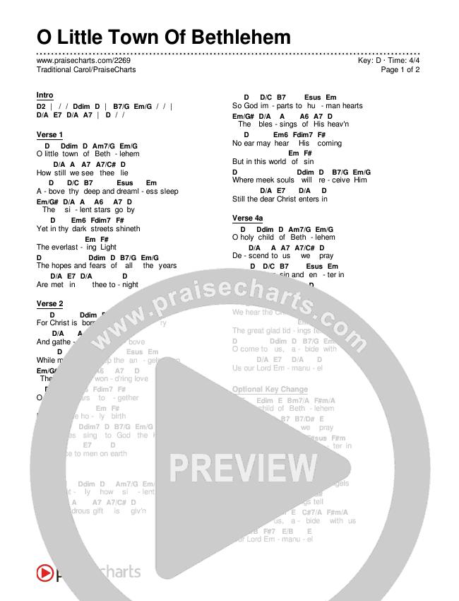 O Little Town Of Bethlehem Chords & Lyrics (Traditional Carol / PraiseCharts)